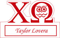 Owl and cut out sorority name tag