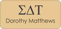 Sigma Delta Tau Gold Name Badge
