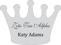Zeta Tau Alpha Crown Shaped Name Tag